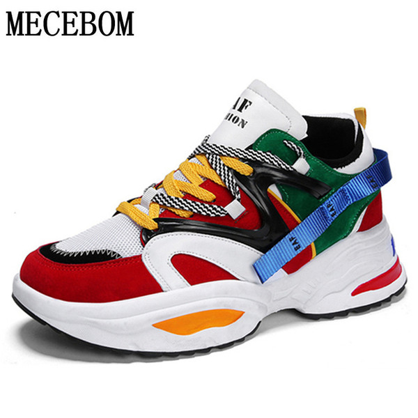 Men's Chunky Sneakers Trend Thick Sole Dad Shoes For Male Lace-up Patchwork Multi Height Increasing Handsome Men Sneakers 890m Y190702