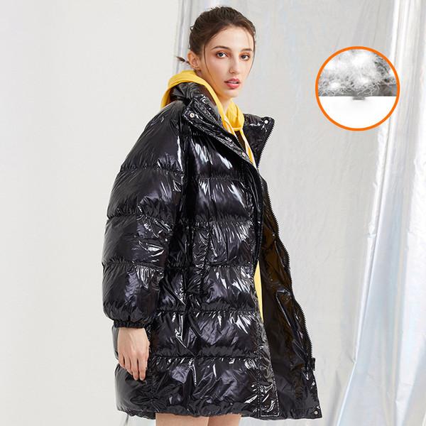 2020 новой зима вниз Девушка длинного участка толщина глянцевого белого утка вниз воротник свободно пальто моды оптовых месте