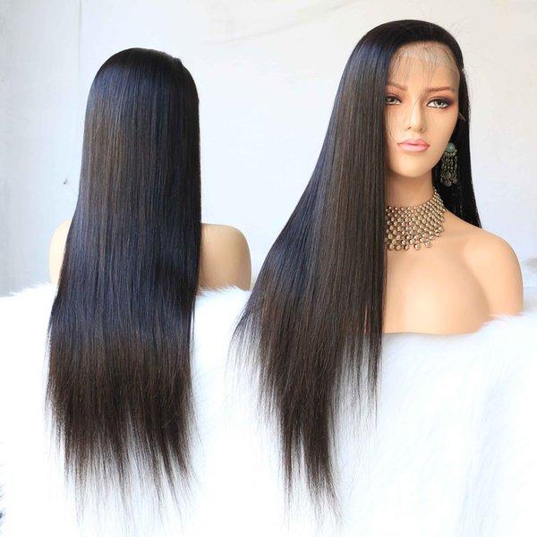 Stokta hotselling işlenmemiş remy bakire insan saçı uzun doğal renk lady için ipeksi düz tam dantel kap peruk