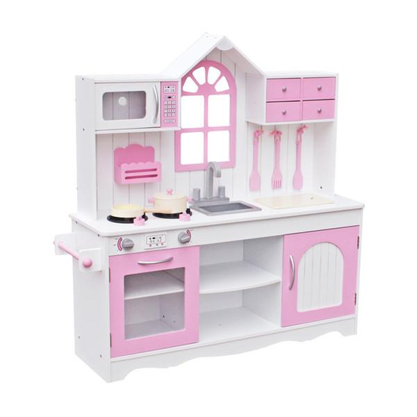 купить оптом детская деревянная кухонная игрушка кулинария притворись Play Set малыш деревянная игровая площадка с посудой розовый для рождественских