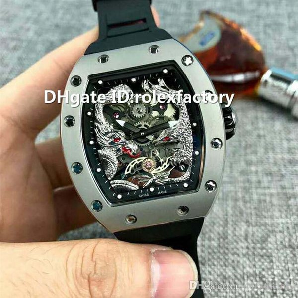 New Luxury 57-01 Watch Automatic Sapphire Crystal Gray Titanium Case Longfeng totem Dial Rubber strap transparent case back Mens Watch