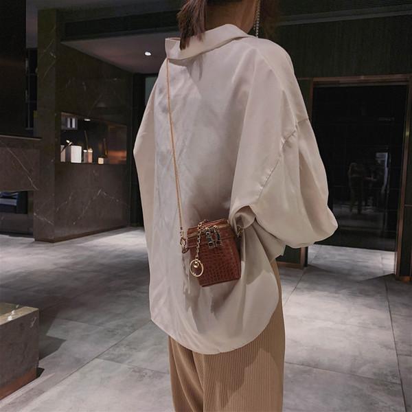2019 Fashion Women Casual Retro Stone Small Bucket Bag Chains Crossbody Bag Shoulder Bolsa Feminina De Ombro Vintage 50