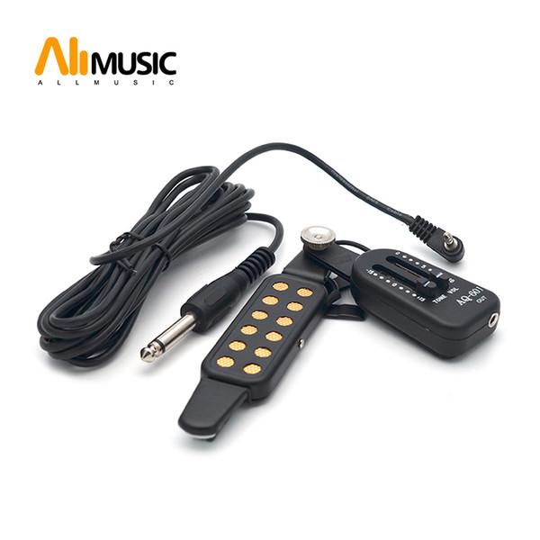 AQ-601 Guitarra Acústica Pick Up Speaker Amplificador de Fio + Volume / Tom Caixa de Controle Pickups