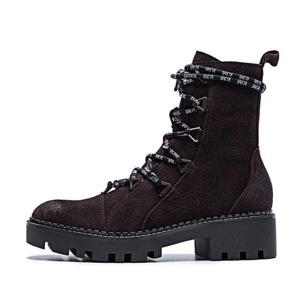 Cow Suede Ladies Spring Boots Chunky Motorcycle Boots For Women Fashion Round Toe Lace-up Platform Female Ankle Boots
