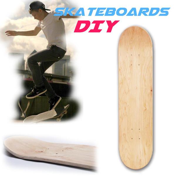 8 pulgadas de 8 capas de arce natural en blanco doble balancín monopatines cóncavos de madera de arce tabla de skate tablas de skate accesorios de cubierta