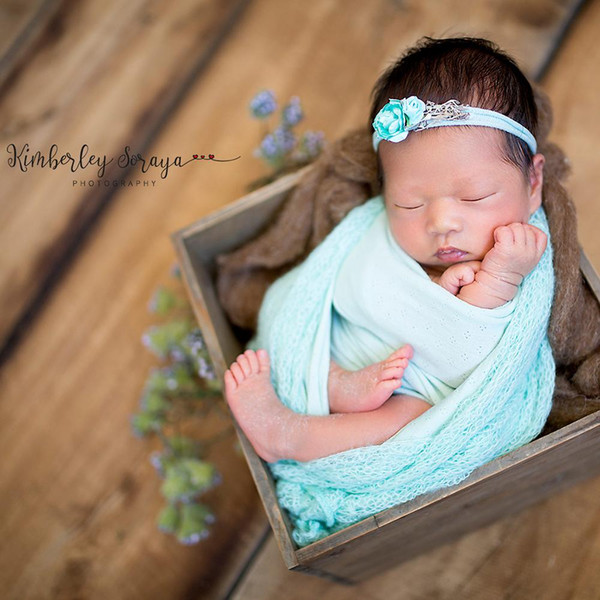 150x40cm mohair Stretch Knit Wrap bebé recién nacido de estudio Fotografía Atrezzo Boutique del estiramiento suave del abrigo del bebé Mantas Swaddle Wraps