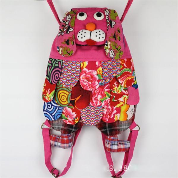 Caráter Étnico Chinês Artesanal de Algodão Cão Mochilas Crianças Pacote de Crianças Meninas Moda Escola Sacos De Cão crianças sacos de designer DHL FJ270
