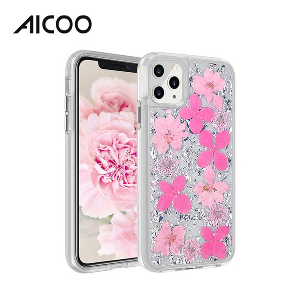 Aicoo Real Dried Flower Bling Gold Foil Transparent Clear Case Shockproof Cover for iPhone 11 Pro Max XS Samsung S10 Plus Opp