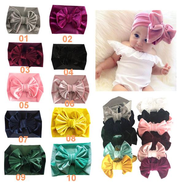 Boutique Hair Bow Europa y americano banda de pelo multicolor terciopelo dorado multicolor para niños arco para bebé versión ancha accesorios para el cabello elásticos