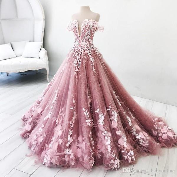 Aturde rosa 3D Apliques mariposa del vestido de bola de los vestidos de quinceañera fuera del hombro sin respaldo del dulce 16 de la mascarada del desfile de los vestidos viste