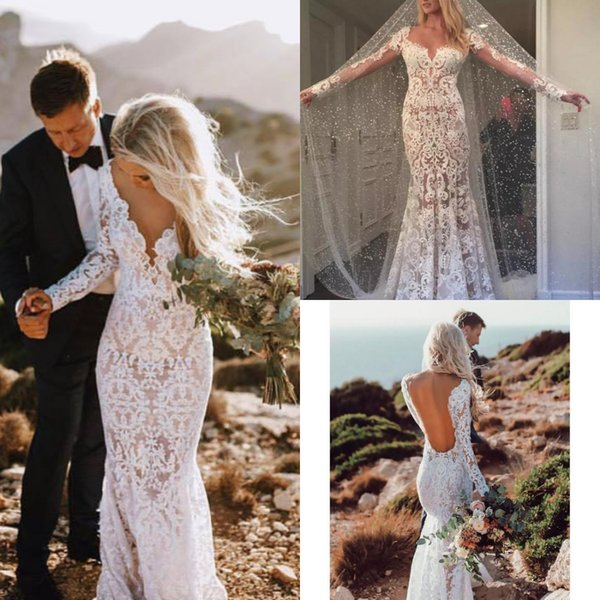 New Berta Wedding Dresses Mermaid Country Style Lace Illusion Long Sleeves See Through Bridal Dresses Vintage Wedding Gowns Backless Cheap