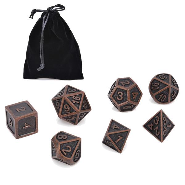 7 Pz / lotto Colore Rame Retro Metallo Dadi Polyhedral Dungeons Draghi MTG SET Tavolo Giochi da Tavolo Bar Esterno Festa di Famiglia Con Borsa