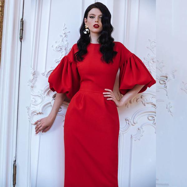 2019 High-end Dresses Women Elegant Big Lantern Sleeve Plus Size Long Maxi Dress Floor Length Cocktail Evening Party Dress