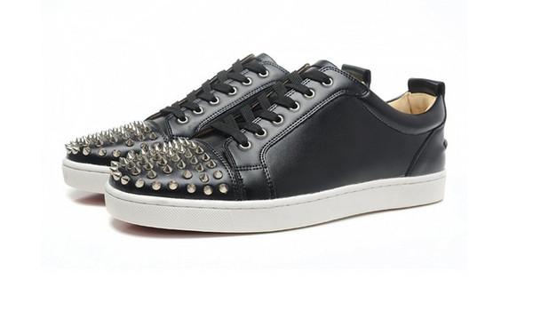 New men women designer black spiked toe sneakers,famous brand red bottom designer mens luxury genuine leather flats sports shoes n189601