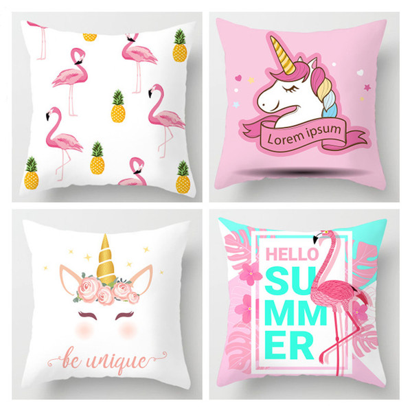 Summer Flamingo Unicorn Pillow Cover Printed Couch Pillow Case 45*45CM Cushion Cover Summer Party Supplies Home Decoration