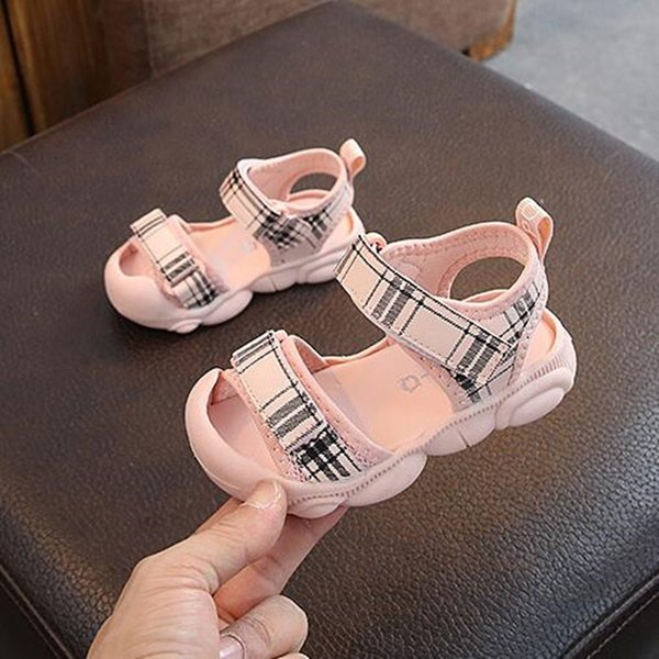 Fashion Plaid Baby Boys Girls 2 Colors New Summer Baotou Shoes Non-slip Comfortable Baby Sandals Soft Bottom Casual Shoes