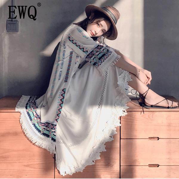 [EWQ] 2019 estate retrò modello etnico stampa crochet vacanza protezione solare scialle ricamo nappa cardigan beach shirt top QG159