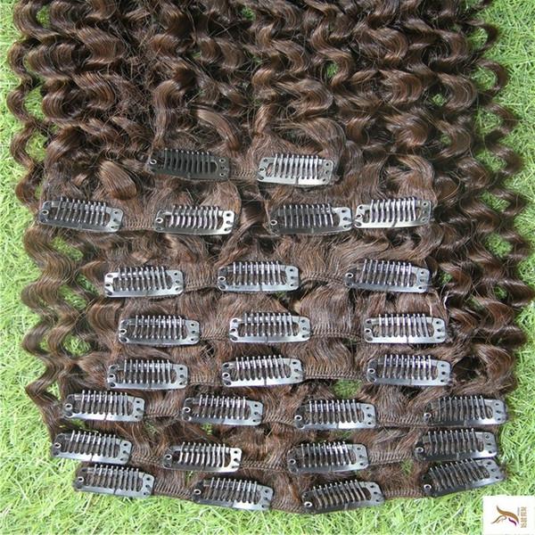 Clip del puer color en extensiones de cabello humano peruano de color marrón oscuro Remy 10- 9pcs 100g 26 pulgadas Clip Vírgenes rizado rizado extensiones de cabello