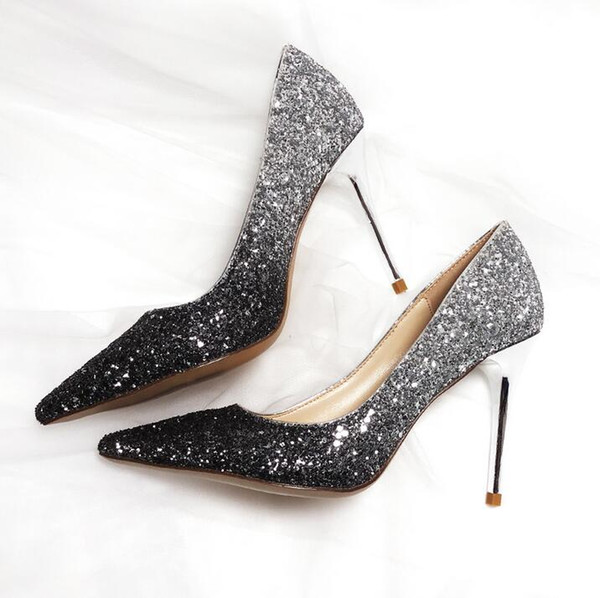 Gradient Color Silver Black Bling Bling Glitter Women Pumps Pointed Toe Sequin Wedding Heels Wedding Shoes Ladies Prom Pumps