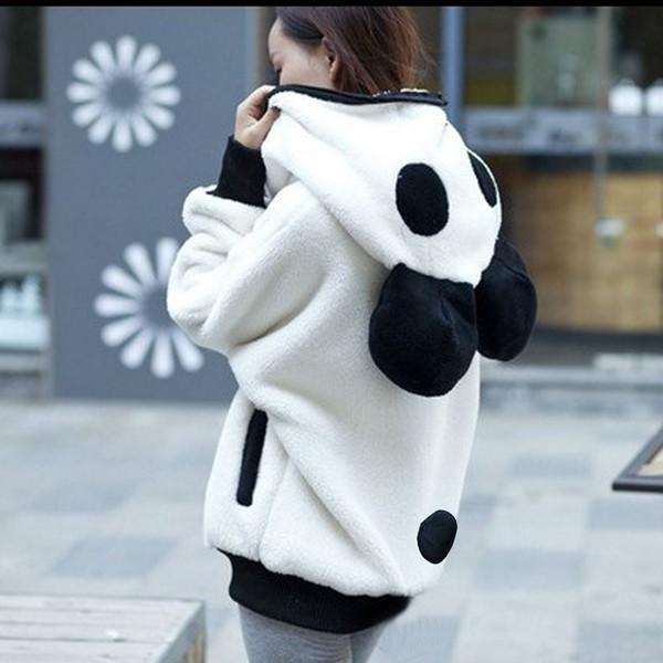 Panda Hoodie Yumuşak Sevimli Kazaklar Kadınlar Lolita Sıcak Polar Hoodies Kış Ayı kulak Güzel Giyim Zip-up Cep Ceket Kazak