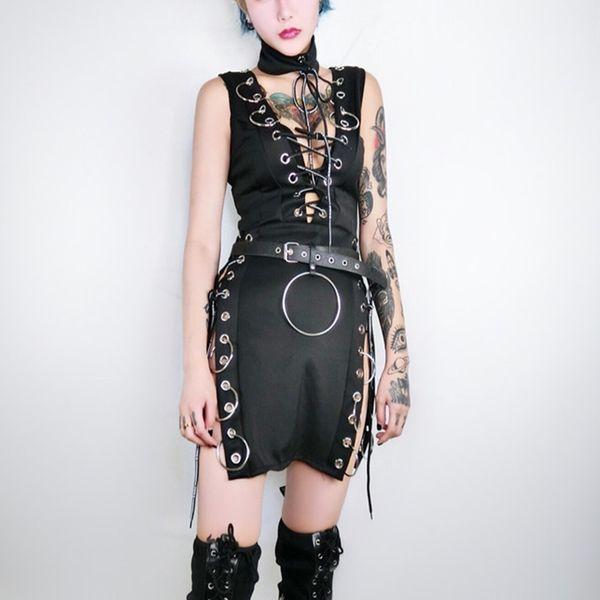 a29fac96 Gothic Black Split Sexy Mini Dresses Costume Women Fashion Sleeveless  Bandage Hoop Cool Dj Jazz Dance