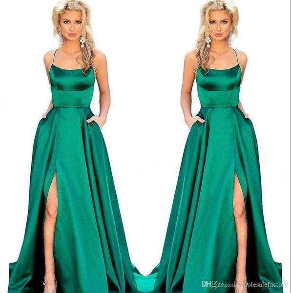 Cintas de espaguete baratos Long Prom Dresses High Side Split Criss Cross Sweep Train Formal Party Formal Evening Party Dresses Custom Made