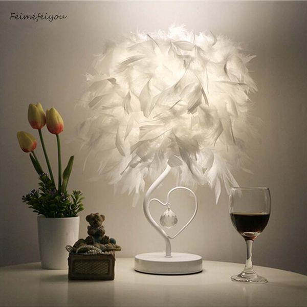 Bedside Reading Room Sitting Room Heart Shape Feather Crystal Table Lamp Light With Eu Plug Us Uk Au Plug Small Size