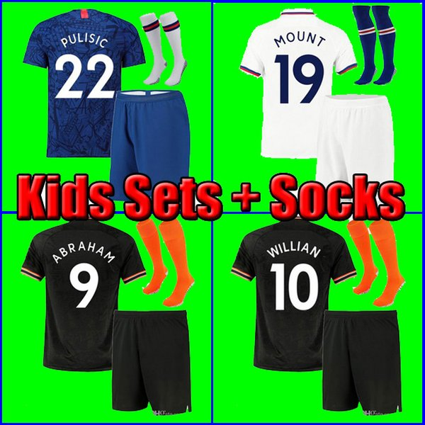 Chelsea 19 20 ABRAHAM MOUNT PULISIC Kinder Kinder Fußball Trikot Fußball Trikot BAKAYOKO Camiseta WILLIAN 2019 2020 KANTE KIDS KIT SETS UNIFORM mit Socken