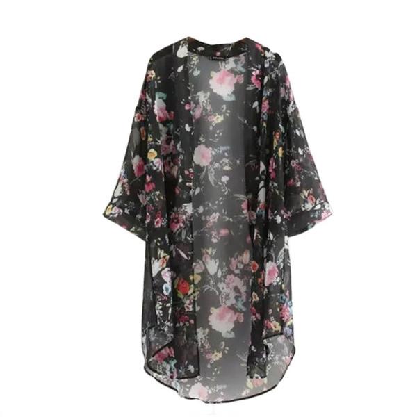 Llegada Nuevo verano Cardigan a prueba de sol Moda Mujer Impresión Bikini de gasa Cover Up Kimono Cardigan Coat 2 colores Camisa Y6