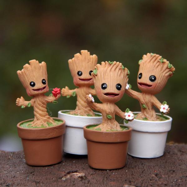 Mini Jardín Maceta Juguetes Groot Figura Acción Pop Guardianes de The Galaxy Pots Figura Juguetes Decoración de la oficina en el hogar Micro-paisaje Figuras