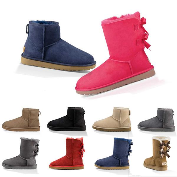 UGG Boots progettista delle donne stivali in Australia neve inverno classico caviglia inginocchiarsi mezzo di lunghezza di avvio scarpe da donna grigio nero