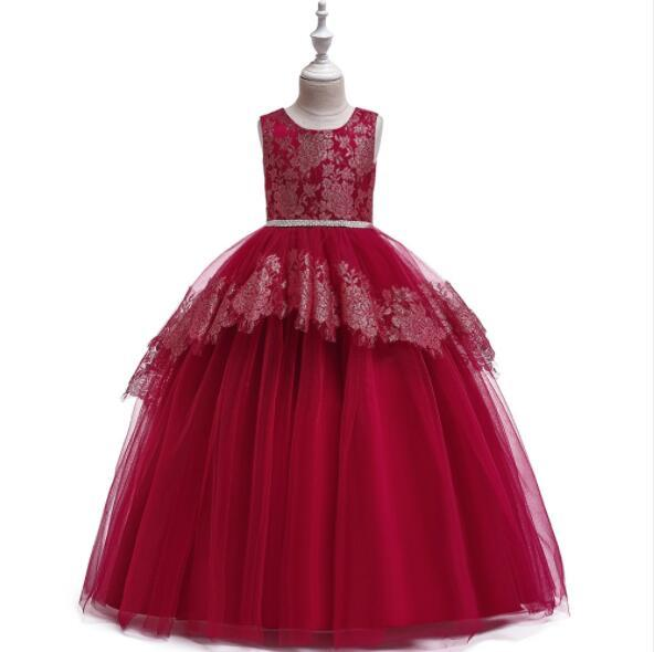 2019 New Girls Wedding Dresses Sleeveless Pink Bead Appliques Lace Party Princess Birthday Dress First Communion Gown Flower Girl Gown