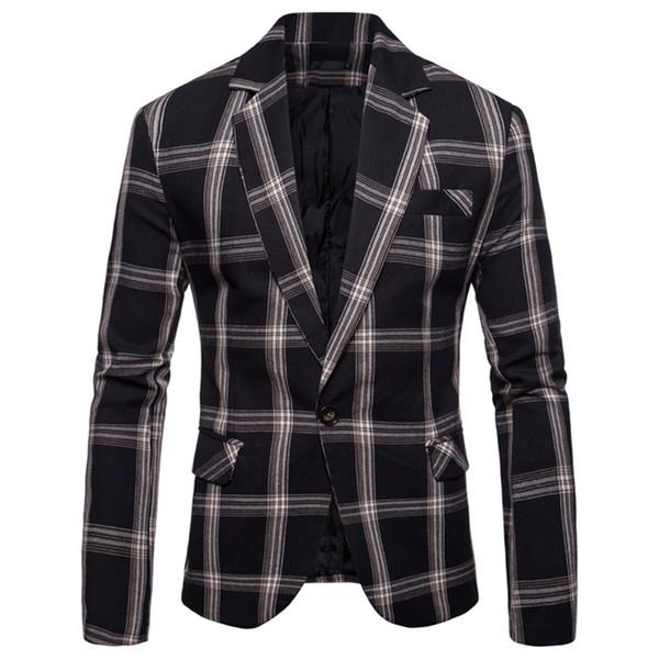New Men's Blazer Fashion Plaid Slim Suit Jackets High Quality Business Single Button Suit Male Wedding Dress Men