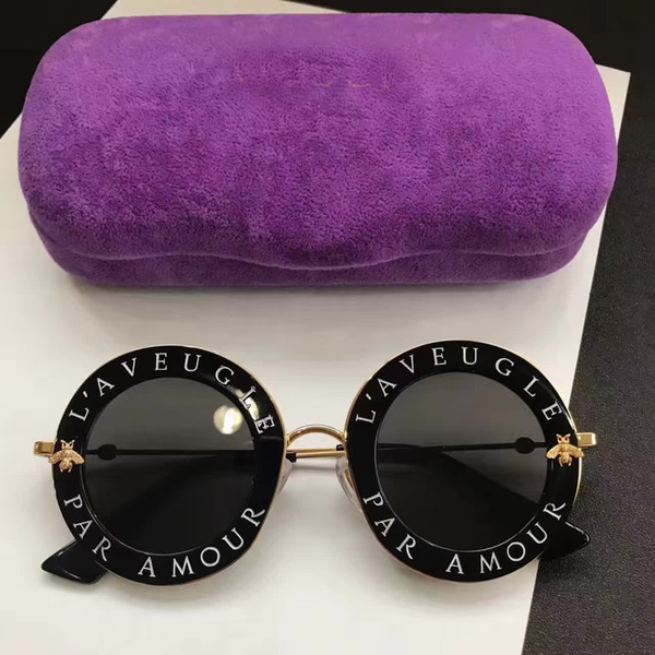 Hot Inspired 0113S Black /Gold Metal Round Sunglasses 0113 S 44mm Fashion Brand Sunglass with hard box