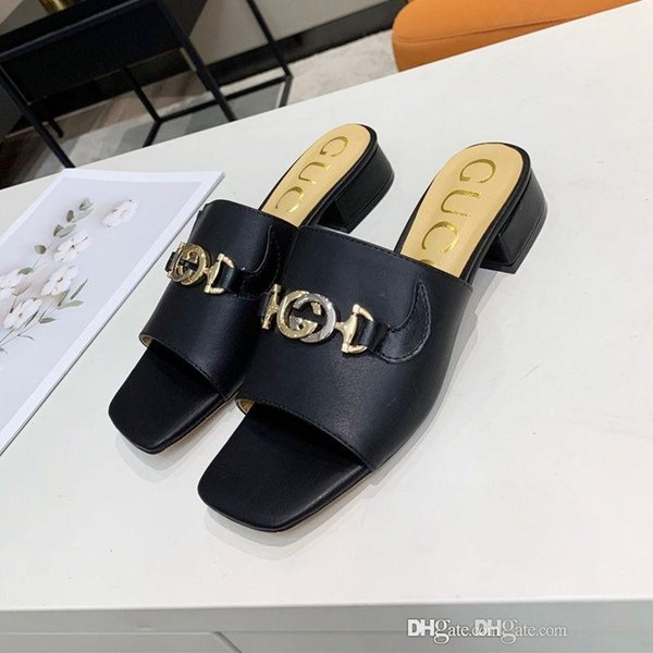 top popular New women's leather slide sandal luxury designer shoes women's sandals fashion casual slippers size 35-42 top quality 2020