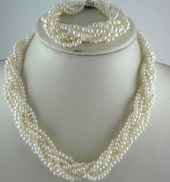 FREE SHIPPING+ +Multi row twist pearl necklace with small pearls