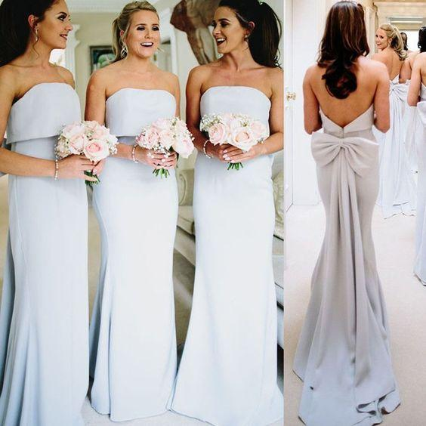 Discount Designer Bridesmaid Dresses 2019 Strapless Satin Full Length Sleeveless Long Cheap Wedding Guest Party Prom bridesmaids Dress
