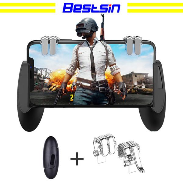 Bestsin PUBG جهاز التحكم في الألعاب المحمول Gamepad Trigger Aim Button L1R1 L2 R2 Shooter عصا التحكم لجهاز iPhone Android Phone