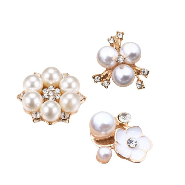 30 pcs handmade pearl button embellishment plating alloy shinny floral diy rhinestone pearl accessories for girl woman lady