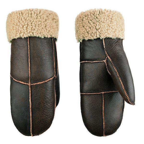 Winter Sheepskin Wool Men Gloves Women Thicken Warm Thermal Mittens Gloves Outdoor Riding Skiing Leather Fur Unisex Gloves T190618