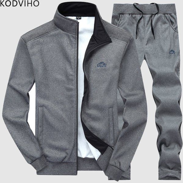 oott / Homens sportwear homens treino treino de fitness terno homem primavera outono fatos de treino 2 peça camisola moletom + sweatpants casual wear