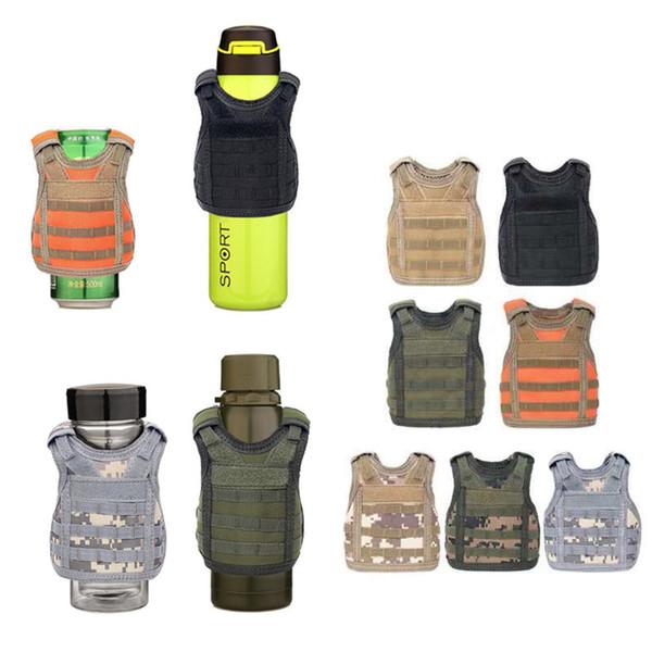 7 Color Mini Tactical Vest Outdoor Molle Vest Wine Beer Bottle Cover Vest Beverage Cooler Adjustable Outdoor Gadgets CCA11708 30pcs