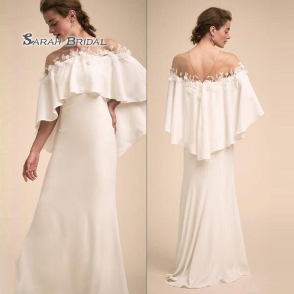 best selling 2019 Simple Long White Sheath Bride Dress with Cape Sexy Evening Wear Formal Gown High-end Wedding Boutique