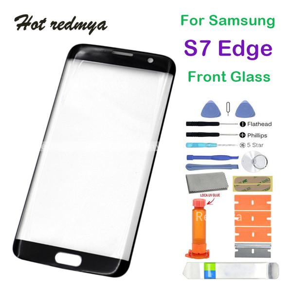 Samsung galaxy s7 edge için dış cam g935 g935f ön dış dokunmatik ekran cam lens değiştirme sensörü paneli ile tamir cam araçları