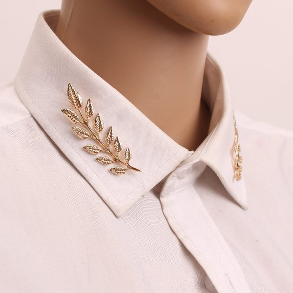 New Golden Sliver Tree Leaf Women Shirt Brooches Leaves Hijab Pins Wedding Brooch Men Brooches Pins Flower Lapel Pins For Women