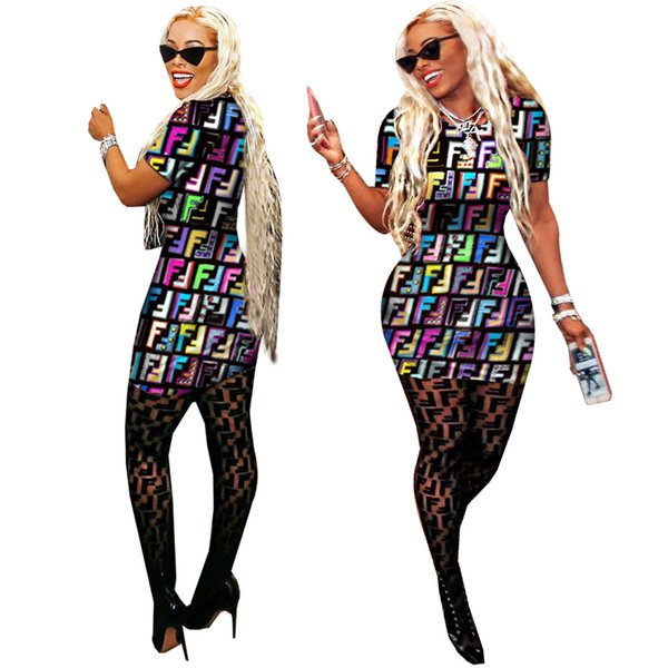Digital Printed Summer Women Dresses Crew Neck Letter F Printed Sexy Dresses Lady Clothing Club Bodycon Dresses