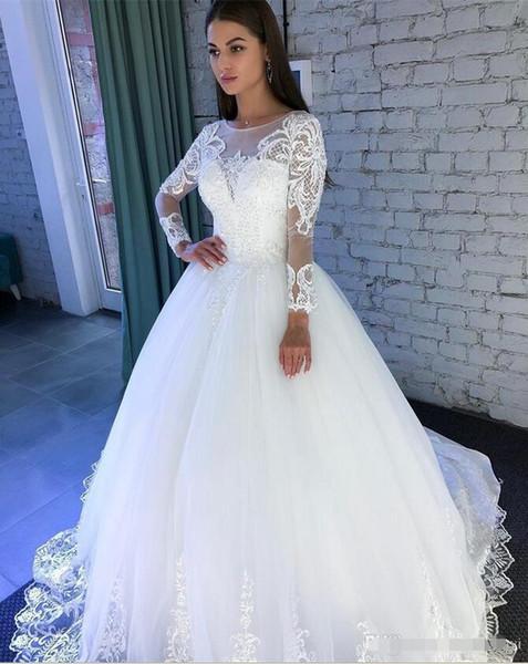 Modern Uzun Kollu A Hattı Gelinlik 2020 Yeni Scoop Boyun Sweep Şekil değiştirme Dantel Aplike Illusion Wedding Guest Elbise Parti Önlük