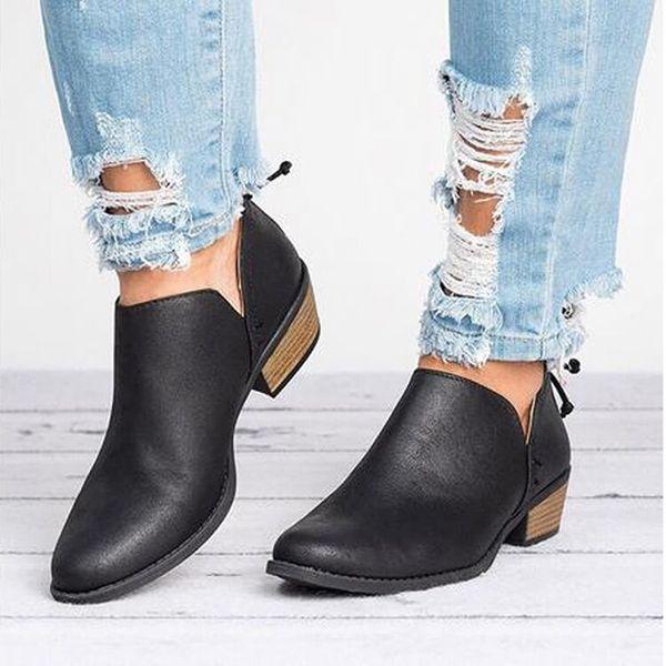 2018 Frühling Herbst Frauen Schmetterling-Knoten Stiefel Slip-On Med High Heels Weibliche Schuhe Kurze Stiefel Spitz Schuhe Frau