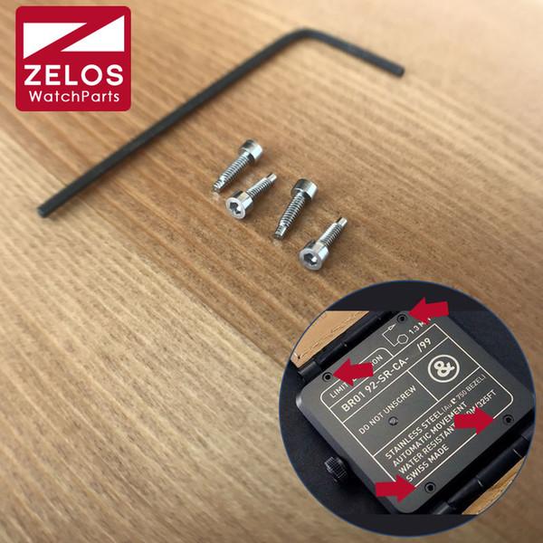 4 piezas / juego tornillos de reloj hexagonales interiores para Bell ross BR01 46mm caja de reloj tornillo posterior (con herramientas)