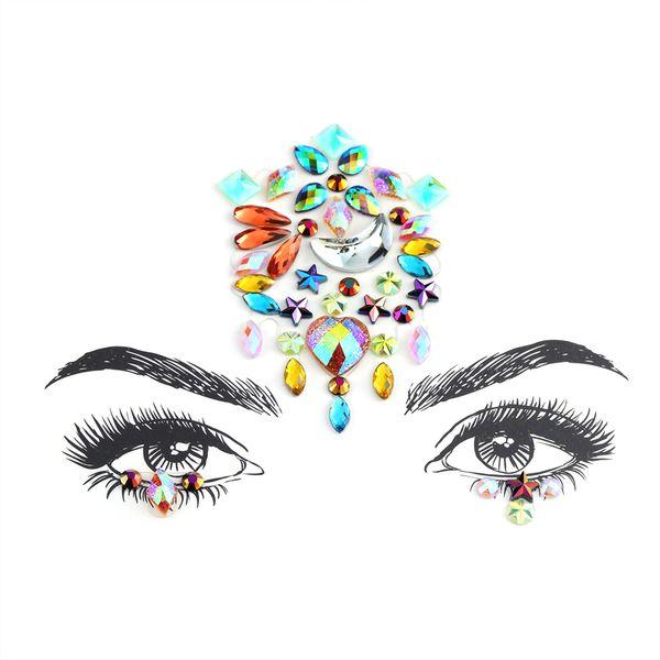 be7eaa90e7 Face Adhesive Jewelry Gems Temporary Tattoo Face Jewelry Festival Party  Body Art Gems Rhinestone Flash Tattoos Stickers Make Up Temporary Tattoo ...